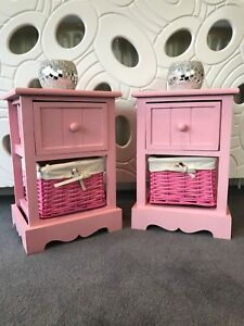 2 x Pink Bedside Tables Wicker Storage Baskets Girls Bedroom Furniture