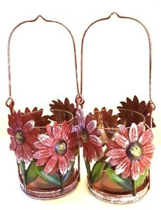 RUSTIC SHABBY WEATHERED METAL GLASS GARDEN FLOWERS CANDLE HOLDER LANTERNS 2 EACH