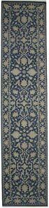 Muted Slate Blue Floral Handmade 3X12 Oriental Runner Rug Hallway Decor Carpet