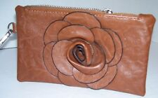 """Small Russet Brown Purse Faux Leather Rose Flower Decal on Front 8x5"""" New"""
