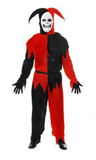 Mens Evil Jester Fancy Dress Halloween Costume Horror Circus Clown Medieval