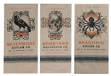 Spooky Halloween Spider Raven Skull Chambray Kitchen Tea Towels Set of 3