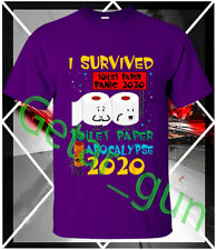 I Survived Toilet Paper Panic Apocalypse 2020 T shirt Tee Gildan Short Sleeve