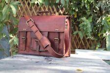 Genuine-Men s Vintage Brown Leather Messenger Bag Shoulder Laptop Bag-Briefcase