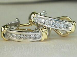 14K White & Yellow Gold Diamond-.21 tcw Fine Half Hoop Omega Back Earrings
