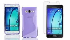 PURPLE S-LINE TPU CASE+ CLEAR TEMPERED GLASS FOR MetroPCS SAMSUNG GALAXY On5