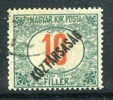 HUNGARY; 1918-19 early KOZTARSASAG Optd Postage Due 10f. fine used value