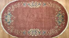 Outstanding Oval - 1920s Antique Art Deco Rug - Chinese Art Nouveau - 4 x 6.7 ft