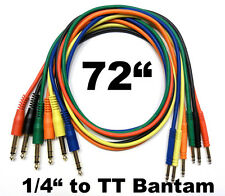 "6 Pack TT Bantam to 1/4 TRS Gold Patch Cables 72"" Cords 6 Foot Studio Leads"