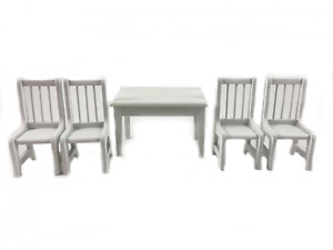 Dolls House White Table & Chairs Miniature Kitchen Dining Room Furniture Set