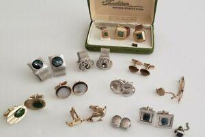 Vintage Lot Of 9 Pairs Of Cufflinks. Jade, Sterling, Tiger Eye + More.