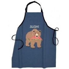 Hatley Funny Cotton Apron SUSHI Grizzly Bear w/ Fish Barbecue Party Unisex Chef
