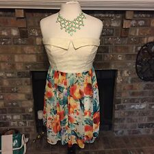 City Triangles womens strapless dress size 13 cream lace  watercolor print