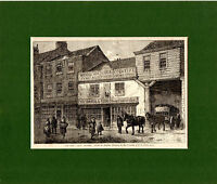 ANTIQUE WOODCUT - THE OLD COCK TAVERN  -  CASSELL'S OLD & NEW LONDON(1880)