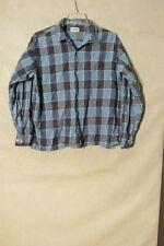 S5347 B.V.D. Men's Large Blue Plaid Long Sleeve Button Up Shirt With Pocket