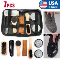 Shoe Cleaning Brushes Tools Kit Polish Boot High Heeled Leather Shine Care Case