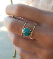 Women 18K Gold Filled Huge Turquoise Men Ring Wedding Fashion Gift Size 6-10