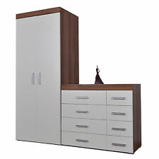 4 4 Drawer Chest of Drawers & 2 Door Wardrobe Walnut Effect Bedroom Set