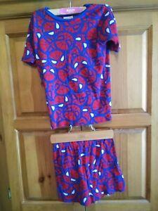 Marvel Spiderman Boys 2pc Pajama Shorts Set Size 10 Elastic Waist Short Sleeve