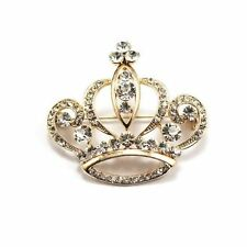 Beautiful 18k Gold Plated Crystal Princess Crown Brooch Elegant