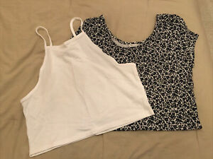 JUNIORS SIZE LARGE AEROPOSTALE NWOT BLACK AND WHITE CROPPED H&M white crop tank