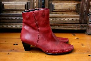 Pikolinos OxBlood Leather Cuban Heel Ankle Boots Size 40 $330 Almond Toe