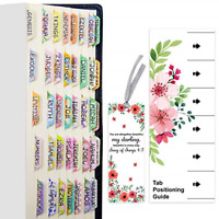 100 PCS Decorative Laminated Bible Tabs Cute Bible tabs for Women Girl 66 Boo...