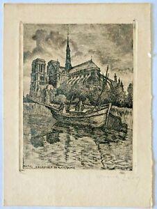 Antique Etching - Paris Ensemble de Notre Dame signed by Emile Lerg