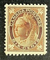 Canadian Stamp, Scott #71 6c 1897-98 Queen Victoria Maple Leaf Issue F/VF M/LH