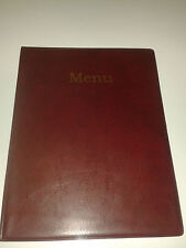A4 MENU HOLDER/COVER/FOLDER IN BURGUNDY LEATHER LOOK PVC