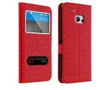 Etui Housse Coque Pochette Double Fenetre Flip HTC Desire 820 - Rouge
