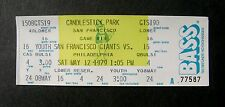 1979 SF San Francisco Giants vs Philadelphia Phillies Full Ticket Candlestick