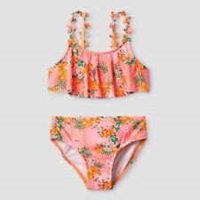 Cat & Jack Girls Orange Flounce Tropical Paradise 2 Piece Bikini Sets Size 7-8