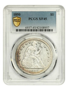 1850 $1 PCGS XF45 - Scarce Issue - Liberty Seated Dollar - Scarce Issue