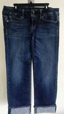 American Eagle blue Jean Capri Pants Cuffed Low Rise Stretch Dark Wash Size 4