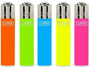 4 x CLIPPER LIGHTERS FLOURESCENT NEON Bright Original Size Gas Flint Refillable