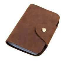 Men's Women's 100% Real Crazy Horse Leather Bifold Credit/ ID Case Card Holder