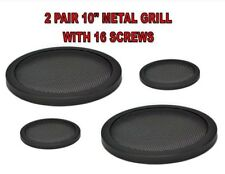 """2 Pair 10"""" INCH CAR SPEAKER WOOFER STEEL MESH GRILLS WITH SPEED CLIPS AND SCREWS"""