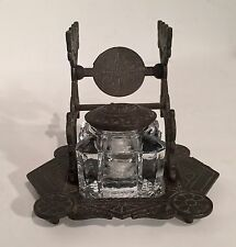 Antique Victorian 1879 Cast Iron Eastlake Inkwell Gothic Style Marked Judd