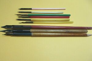 Lot of 9 vintage dip pens, wood & plastic, bone,  All England makers