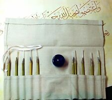 Arabic-Islamic Calligraphy Set 10 Reed Pens with Plastic Ink (Black) Jar