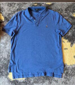 Mens Polo Ralph Lauren Short Sleeve Blue Medium M Pima Soft Touch