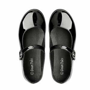 Kids Girls Mary Jane Adjustable Buckle School Uniform Shoes Size Black Pu US