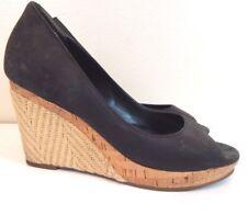 Cole Haan Women's 11 Wedges Nik Air Matte Leather Peep Toe Woven Heel EUC