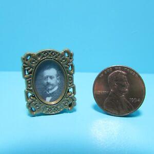 Dollhouse Miniature Portrait of Victorian Gentleman in Standing Frame  JOS2926G