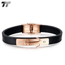 TT Black Leather Rose Gold Arrow 316L Stainless Steel Bracelet Wristband BR237Z