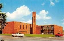 McAllen Texas birds eye view First Christian Church vintage pc Z21759
