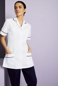 Boyd Cooper White - Royal Blue Trim Ladies Tunic Nurse, Vets, Care Uniforms