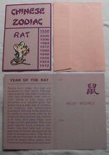 CHINESE RAT SIGN BIRTHDAY CARD ZODIAC ASTROLOGY HOROSCOPE GREETING