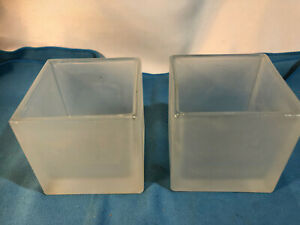 Pair Glass Frosted Cube Vase Square Home Decor Storage Kitchen Pot Container